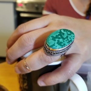 Jewelry - Unique Sterling Silver Vintage Malachite Ring